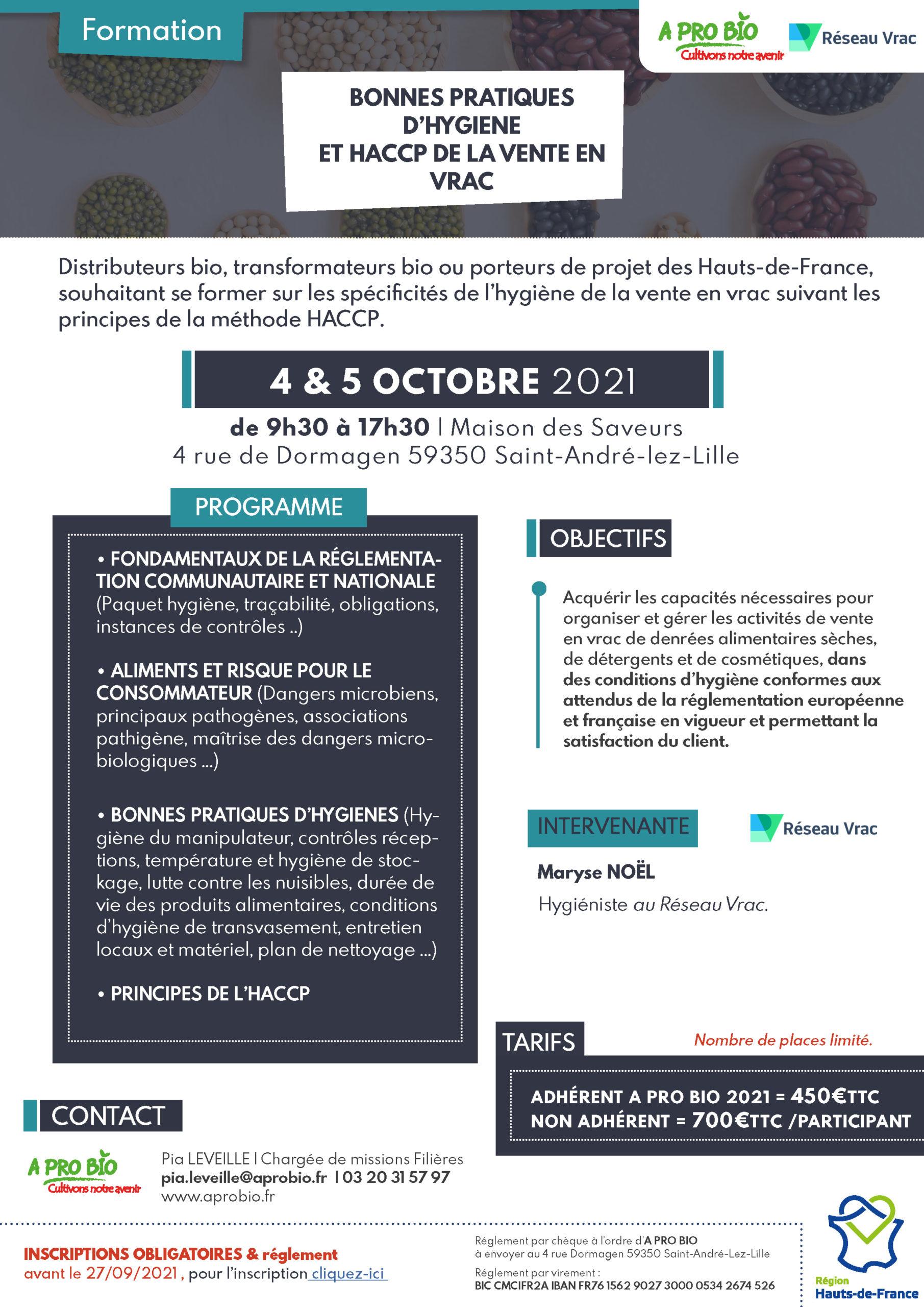 📅 4 & 5 octobre |  Formation hygiène en Vrac
