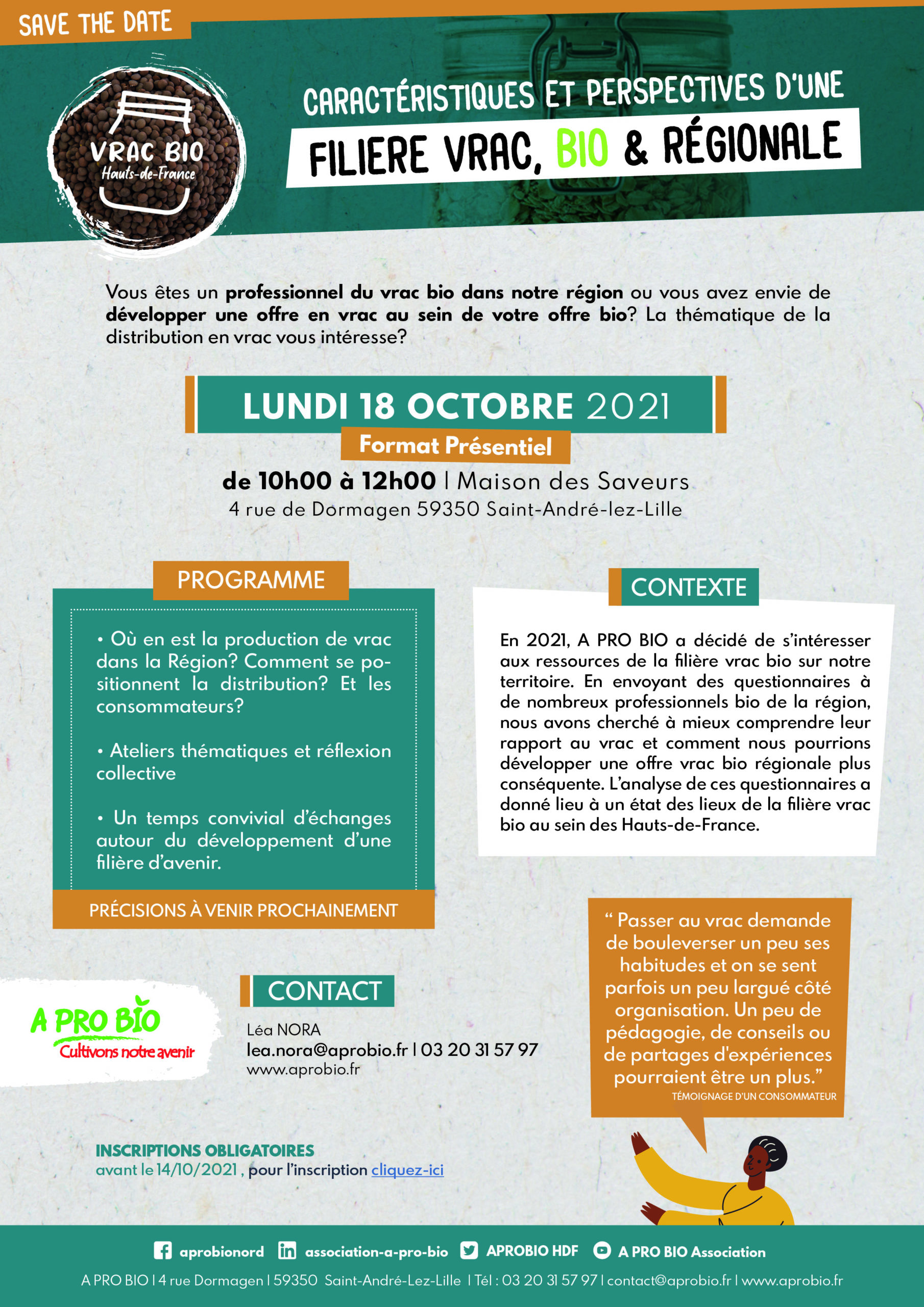 📅 18 octobre    Caractéristiques et perspectives d'une filière vrac, bio & régionale