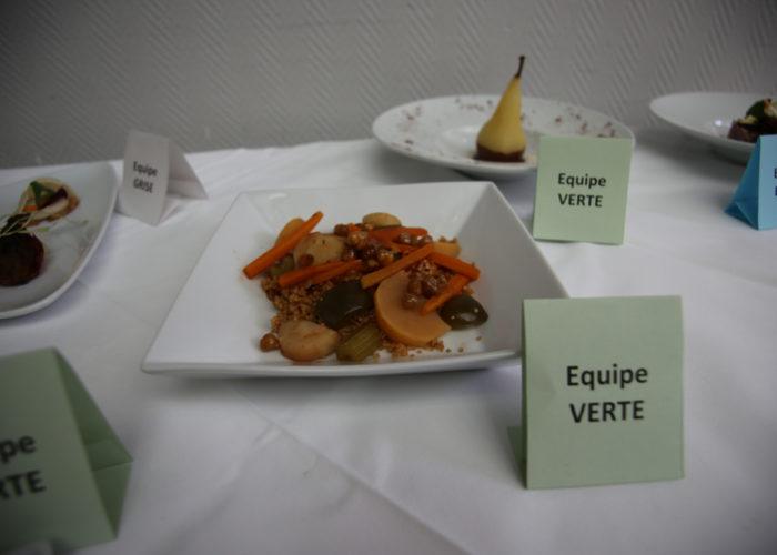 Le menu de l'équipe verte